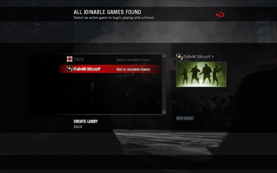 left for dead 2 not in joinable game